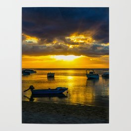 Golden Sunset in Mauritius Poster