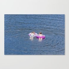 Girls on the lake Canvas Print