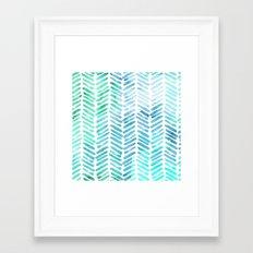 Handpainted Chevron pattern - light green and aqua - stripes #Society6 Framed Art Print