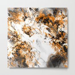 Orange Black Gray and White Fractal Metal Print