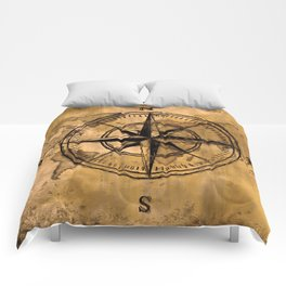 Destinations - Compass Rose and World Map Comforters