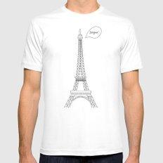 Bonjour Paris! Mens Fitted Tee White MEDIUM