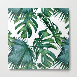 Classic Palm Leaves Tropical Jungle Green Metal Print