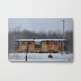 CNW Caboose in Winter Metal Print