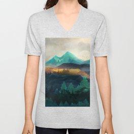 Green Wild Mountainside Unisex V-Neck