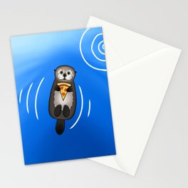 Sea Otter with Pizza Stationery Cards