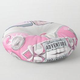 Pug Girly Adventure Floor Pillow