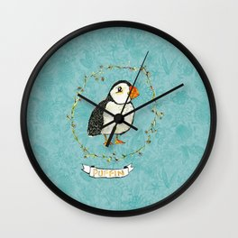 Floral puffin Wall Clock