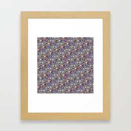 Small Print Dog Weim Nation Grey Ghost Weimaraner Hand-painted Pet Pattern on Blue Framed Art Print
