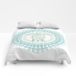 Turquoise Green Turtle And Mandala Comforters