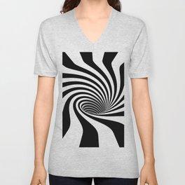 Op Art Black and White Spiral Vortex Unisex V-Neck
