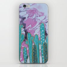 Pink Cactus with Gold Outline iPhone & iPod Skin