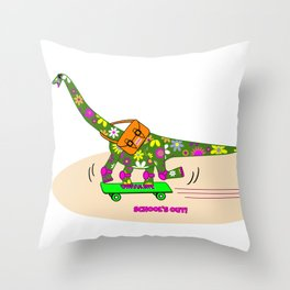Schools Out for Brenda the Dinosaur Throw Pillow