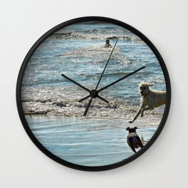 Blue and Silver Wall Clock