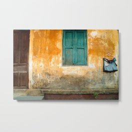 Antique Chinese Wall of Hoi An Metal Print