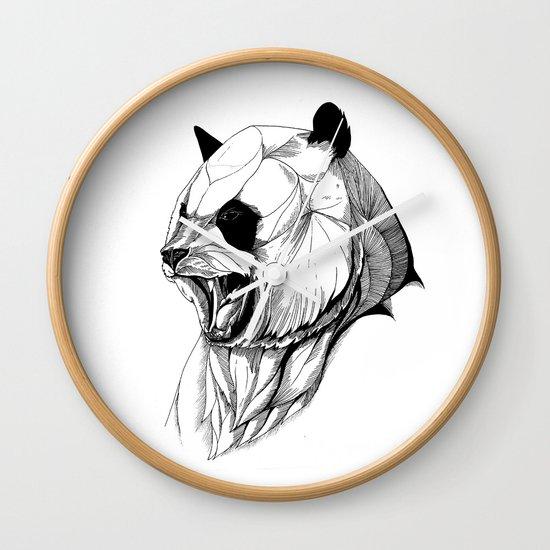 Angry panda (black stroke version for t-shirts) Wall Clock