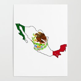 Mexico Map with Mexican Flag Poster