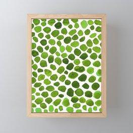 Emerald Green Stones Watercolor Minimalism Painting Framed Mini Art Print