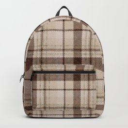 Faded Brown Tone Plaid Backpack
