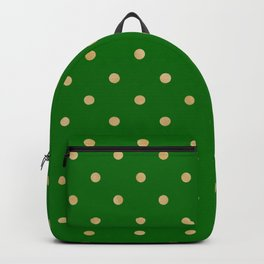 gold dot on green Backpack