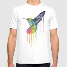 Hummingbird Rainbow Watercolor White 2X-LARGE Mens Fitted Tee