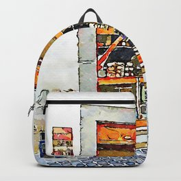 Barbarano Romano: showcase of grocery store with column Backpack