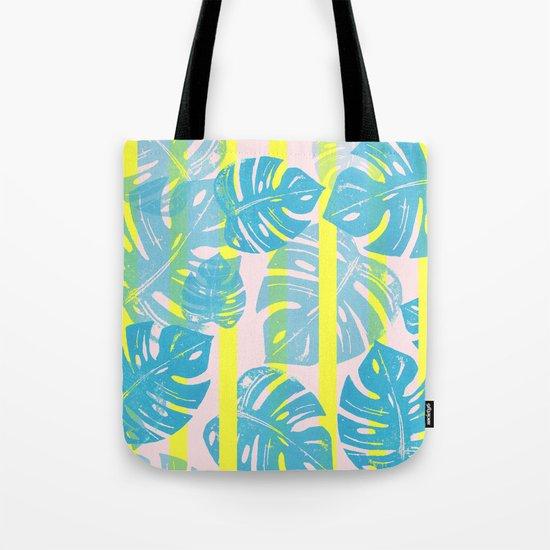 Linocut Monstera Neon Tote Bag