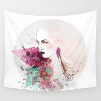 fashion illustration Wall Tapestries featuring FASHION ILLUSTRATION 3 by Justyna Kucharska