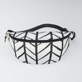 black and white modern hand drawn herringbone chevron pattern Fanny Pack