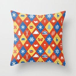 Diamond Run Winter Ski Design Throw Pillow