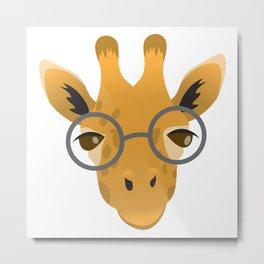 Nerdy giraffe in glasses Metal Print