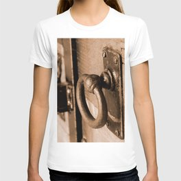 Rustic Antique Door Handle Pull and Latch Sepia T-shirt