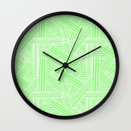 Sketchy Abstract (White & Light Green Pattern) Wall Clock