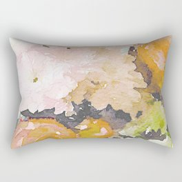 Watercolor Floral Print in Grey, Mustard, Pastel Pink, and Off White Rectangular Pillow