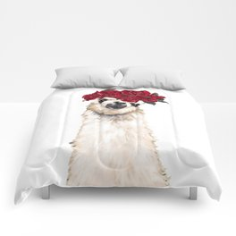 Sexy Llama with Roses Crown Comforters