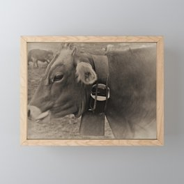 Black and White Cows in Switzerland Framed Mini Art Print