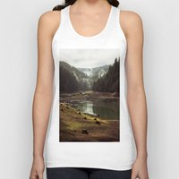 design Tank Tops featuring Foggy Forest Creek by Kevin Russ
