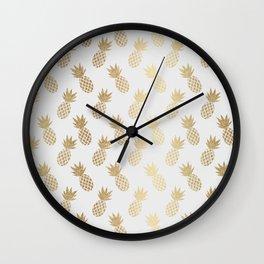 Gold Pineapple Pattern Wall Clock