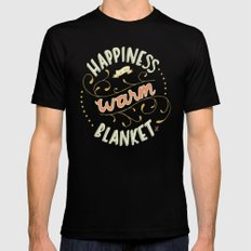 Happiness is a Warm Blanket Mens Fitted Tee Black MEDIUM
