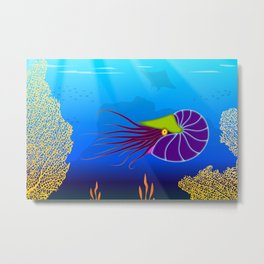 Paper Craft Nautilus Metal Print