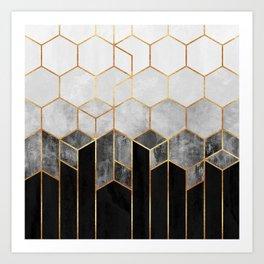 Charcoal Hexagons Art Print