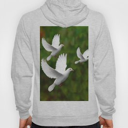 THREE CONTEMPORARY WHITE  DOVES IN GREEN Hoody