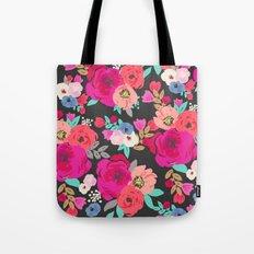 Sweet Pea Floral Black Bright Color Tote Bag