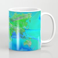 map of the world Mugs featuring World Map by Roger Wedegis