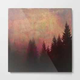 Repose, Abstract Landscape Trees Sky Metal Print
