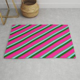 Lime Green, Light Sky Blue, Dark Green & Deep Pink Colored Lines/Stripes Pattern Rug