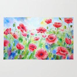 Watercolor red poppy field Rug