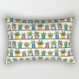 Houseplants Pattern - Colorful Potted Plants On Shelves Rectangular Pillow