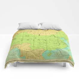 Aged Map of China Comforters