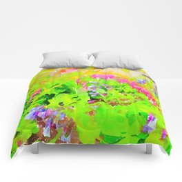 Abstract Spring Flowers Bleeding Hearts and Virginia Bluebells Comforters